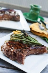Grilled Pork Chops with a Blueberry Balsamic Glaze